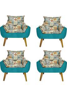 Kit 4 Poltronas Decorativas Kasa Sofá Opala Azulejo Azul