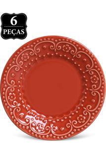 Conjunto 6Pçs Prato Sobremesa 20Cm Esparta Vermelho.