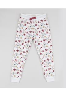 Calça De Moletom Infantil Estampada Floral Com Bolsos Off White