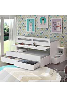 Beliche 2 Gavetas Baixa Com Escrivaninha 100% Mdf 11910 Branco - Foscarini