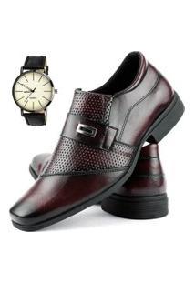 Sapato Social Perfuros Com Metal Dhl Masculino Vinho + Relógio