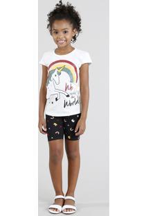 Conjunto Infantil De Blusa Manga Curta Off White + Bermuda Estampada De Unicórnio Preta