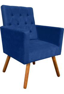Poltrona Decorativa Nina Capitonê Suede Azul Royal D'Rossi