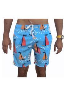 Bermuda Short Tactel E Elastano Opice Moda Praia Estampado Barcos Azuis