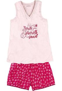Pijama Feminino Em Algodão Com Regata E Shorts Estampado