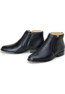 Bota Ribershoes Social Sapato Em Couro Ziper Preta