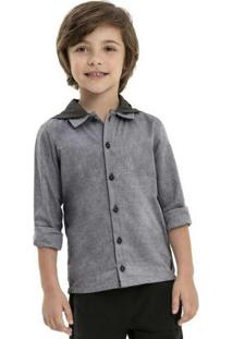 Camisa Infantil Manga Longa Preto