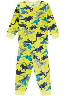 Pijama Menino Em Malha Com Estampa Dino Verde