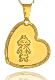 Colar Le Diamond Pingente Coraã§Ã£O Menina - Dourado - Feminino - Dafiti