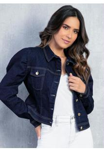 Jaqueta Jeans Escuro Com Mangas Bufantes E Bolso