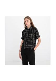 Camisa Cropped Manga Curta Estampa Xadrez Grid | Blue Steel | Preto | Pp