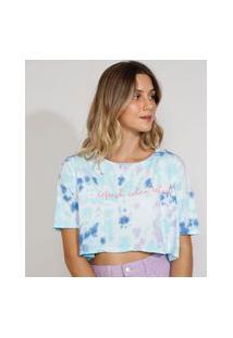 "Camiseta Feminina Estampada Tie Dye Manga Curta Cropped Ampla ""Refresh"" Decote Redondo Multicor"