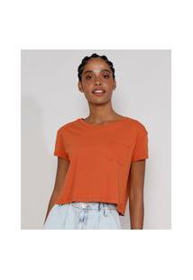 Camiseta Feminina Básica Manga Curta Cropped Com Bolso Decote Redondo Cobre
