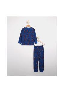 Pijama Infantil Estampada Homem Aranha Manga Longa Azul