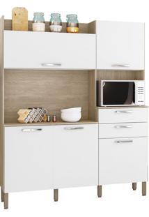 Cozinha Ravena Nogal/White 5 Portas 2 Gavetas - Kits Paraná