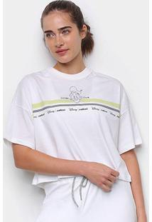 Camiseta Colcci Cropped Disney Donald Duck Feminina - Feminino-Marrom