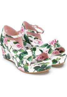 Dolce & Gabbana Kids Sandália Plataforma Com Estampa De Rosa - Branco