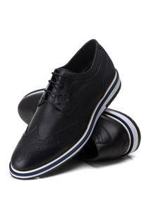 Sapato Oxford Batta Shoes Couro Com Texturas Confort Preto