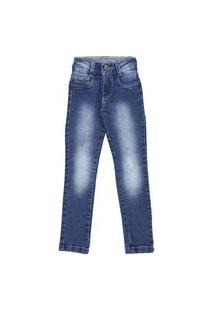 Calça Infantil De 4 A 8 Anos Slim Jeans Escuro Estonado