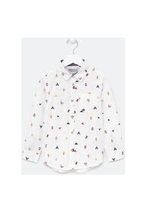 Camisa Infantil Estampada - Tam 5 A 14 Anos   Fuzarka (4 A 14 Anos)   Branco   11-12