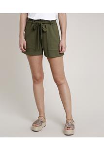 Short Feminino Bbb Em Moletom Com Amarração Verde Militar