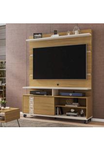 Estante Home Para Tv Até 52 Polegadas Com Rodízios Pérola Móveis Bechara Cinamomo/Off-White