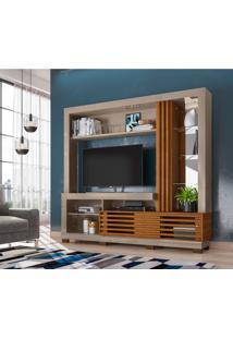 Estante Para Home Theater E Tv Até 50 Polegadas Frizz Fendi E Naturale