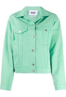 Msgm Jaqueta Jeans Com Estampa De Logo - Verde