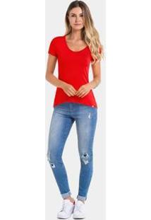 Camiseta Manga Curta Básica Feminina Bolso - Feminino-Vermelho