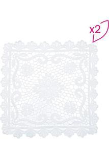 Jogo Americano Flower- Branco- 2Pã§S- Lyorlyor
