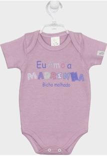 Body Bebê Manga Curta Madrinha - Feminino-Lilás
