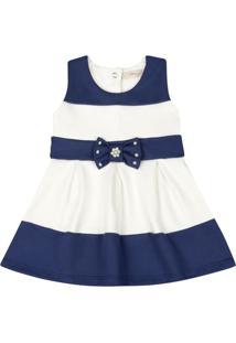 Vestido Infantil - Lacinho Azul - Listrado Azul E Branco - Livy Malhas - G