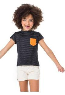 Camiseta Infantil Bolso Contraste Reserva Mini Feminina - Feminino-Preto