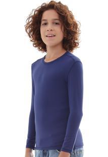 Camisa Infantil Proteção Solar Uv50 Slim Fitness Azul-Marinho