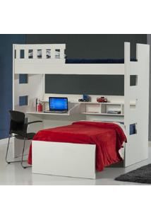 Beliche Com Escrivaninha E Grade 100% Mdf 231623 Bp Branco - Foscarini