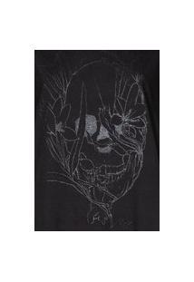 Camiseta Feminina Caveira Com Flores Preto