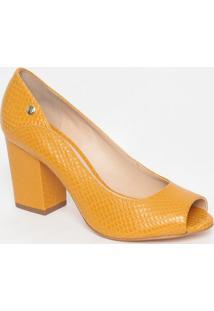 Peep Toe Em Couro Texturizado- Amarelo- Salto: 8Cmjorge Bischoff