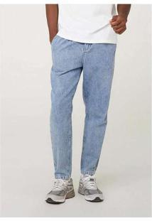 Calça Jeans Masculina Taper Com Pences Azul