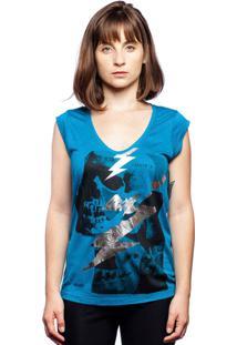 Camiseta Caráter Caveira Raio Azul