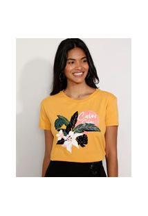 "Camiseta Feminina Manga Curta ""Calor Solar"" Flocada Decote Redondo Mostarda"