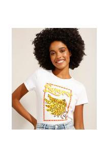"""Camiseta De Algodão Bananas"""" Manga Curta Decote Redondo Off White"""""""