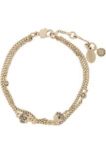 Alexander Mcqueen Bracelete 'Skull Charm' De Ouro - Metálico