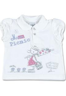 Camiseta Bebê Cotton Mon Picnic - Feminino-Branco