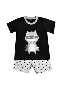 Pijama Manga Curta Raposo Alfredo - Preto
