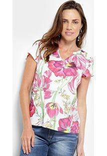 Camiseta Lança Perfume Estampada - Feminino-Rosa+Branco