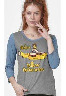 Camiseta Manga Longa Feminina The Beatles Yellow Submarine - Feminino-Cinza