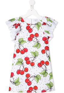 Monnalisa Vestido Reto Com Estampa De Cerejas - Branco