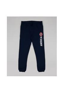 Calça De Moletom Infantil Capitão América Azul Marinho