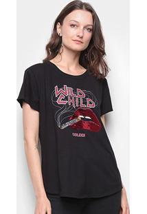 Camiseta Colcci Wild Child Bordado Paetê Feminina - Feminino-Preto