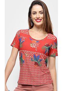 Camiseta Cantão Viola Feminino - Feminino-Vermelho+Marinho